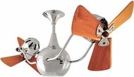 Matthews VB-CR-WD Vent-Bettina Modern Polished Chrome Interior/Exterior 42  Rotational Ceiling Fan with Mahogany Blades