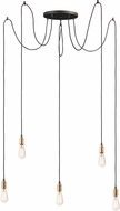 Maxim 12125BKAB Early Electric Contemporary Black / Antique Brass Multi Hanging Light Fixture