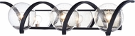 Maxim 35106CDBKPN Curlicue Contemporary Black / Polished Nickel 3-Light Vanity Lighting