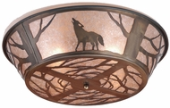 Meyda Tiffany 10010 Northwoods Wolf on the Loose Country Antique Copper / Silver Mica Ceiling Lighting