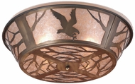 Meyda Tiffany 10013 Northwoods Strike of the Eagle Country Antique Copper / Silver Mica Ceiling Light Fixture