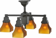 Meyda Tiffany 108063 Bungalow Frosted Amber Amber Frosted Timelss Bronze Mini Chandelier Light