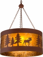 Meyda Tiffany 110656 Moose on the Loose Rustic Rust / Amber Mica Drum Hanging Light Fixture