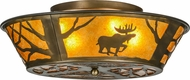 Meyda Tiffany 113169 Moose at Dawn Country Antique Copper / Amber Mica Overhead Lighting Fixture