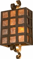 Meyda Tiffany 116008 Rustic Iron Amber Mica / Clear Seedy Glass Wall Lighting Sconce