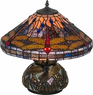 Meyda Tiffany 118749 Tiffany Hanginghead Dragonfly Cone Tiffany Purple / Blue Orange Green Side Table Lamp
