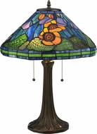 Meyda Tiffany 119554 Tiffany Poppy Cone Mahogany Bronze Table Top Lamp