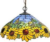 Meyda Tiffany 119560 Wild Sunflower Tiffany Mahogany Bronze Pendant Lighting