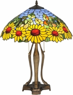 Meyda Tiffany 119682 Wild Sunflower Tiffany Mahogany Bronze Side Table Lamp