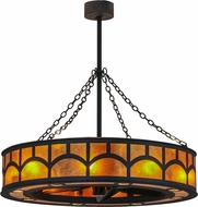 Meyda Tiffany 123179 Mission Hill Top Costello Black / Amber Mica Ceiling Fan