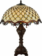 Meyda Tiffany 124834 Diamond & Jewel Tiffany Mahogany Bronze Table Lamp Lighting