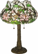 Meyda Tiffany 125091 Dragonfly Flower Tiffany Mahogany Bronze Side Table Lamp