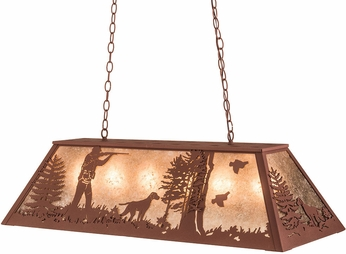 Meyda Tiffany 128028 Quail Hunter W/Dog Rust / Silver Mica Kitchen Island Lighting