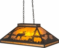 Meyda Tiffany 128922 Moose at Lake Country Textured Black / Amber Mica Kitchen Island Light Fixture