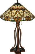 Meyda Tiffany 134150 Middleton Tiffany Mahogany Bronze Table Top Lamp