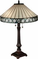 Meyda Tiffany 134537 Diamondring Tiffany Mahogany Bronze Table Top Lamp