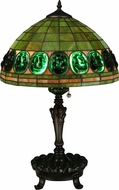 Meyda Tiffany 134539 Turtleback Green Tiffany Mahogany Bronze Table Lamp