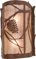 Meyda Tiffany 136272 Whispering Pines Rustic Rust / Silver Mica Wall Sconce