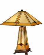 Meyda Tiffany 138111 Diamond Mission Tiffany Mahogany Bronze Lighting Table Lamp