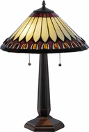 Meyda Tiffany 138579 Tuscaloosa Tiffany Mahogany Bronze Table Top Lamp