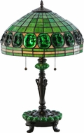 Meyda Tiffany 138580 Turtleback Green Accent Base Tiffany Mahogany Bronze Side Table Lamp