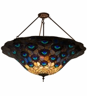 Meyda Tiffany 139408 Peacock Feather Tiffany Green/Blue/Purple Ceiling Light