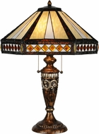 Meyda Tiffany 139416 Diamond Mission Tiffany Mahogany Bronze Table Lamp