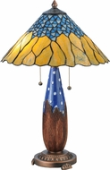 Meyda Tiffany 139610 Cristal Azul Mahogany Bronze Lighting Table Lamp