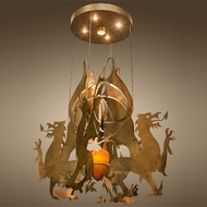 Meyda Tiffany 142893 Dragos Contemporary Sahara Gold Ceiling Lighting Fixture