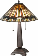 Meyda Tiffany 143147 Prairie Delta Tiffany Mahogany Bronze Table Lamp Lighting