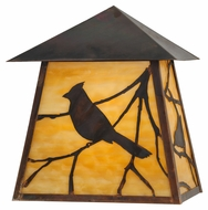 Meyda Tiffany 144078 Stillwater Song Bird Beige Vintage Copper Finish 12  Wide Exterior Wall Sconce Lighting