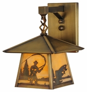 Meyda Tiffany 144651 Stillwater Fly Fishing Creek Beige Antique Finish 11.25  Tall Exterior Wall Light Sconce