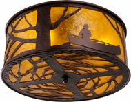 Meyda Tiffany 148378 Canoe At Lake Country Mahogany Bronze / Amber Mica Ceiling Light