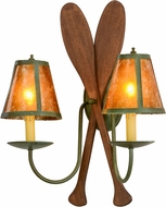 Meyda Tiffany 148768 Paddle Rustic Tarnished Copper / Amber Mica Wall Lighting Sconce