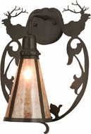 Meyda Tiffany 148884 Wild Elks Country Timeless Bronze / Silver Mica Wall Light Sconce
