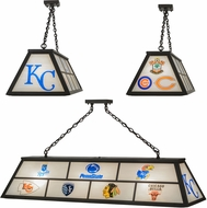 Meyda Tiffany 149369 Personalized Sport Logos Modern Oil Rubbed Bronze / White Glass Island Light Fixture