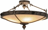Meyda Tiffany 149758 Arabesque Copper Rust / Alabaster Acrylic Gold High Lights Flush Mount Lighting Fixture