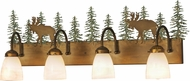 Meyda Tiffany 150316 Wandering Moose Country Antique Copper / Green Trees Bathroom Sconce