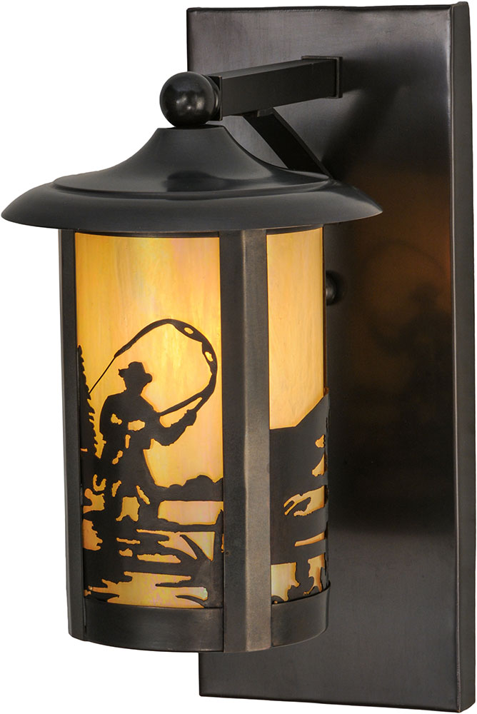 Wall Mounted Fishing Lamp : Meyda Tiffany 150580 Fulton Fly Fishing Creek Country Bai Craftsman Wall Mounted Lamp - MEY-150580