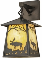 Meyda Tiffany 150673 Stillwater Moose at Dawn Rustic Beige Craftsman Wall Lighting Fixture