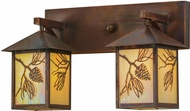 Meyda Tiffany 150776 Balsam Pine Rustic Bai Vintage Copper 2-Light Vanity Lighting Fixture