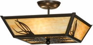 Meyda Tiffany 151038 Mountain Pine Country Timeless Bronze / Ba Flush Lighting