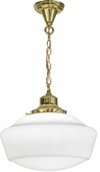 Meyda Tiffany 151550 Revival Schoolhouse Polished Brass Drop Ceiling Light Fixture