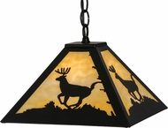 Meyda Tiffany 151728 Lone Deer Rustic Black / Ba Hanging Lamp