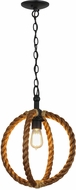 Meyda Tiffany 152439 Cilindro Bola Contemporary Manilla Rope Black Powdercoat Hanging Pendant Light