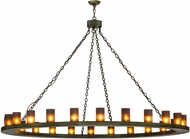 Meyda Tiffany 152584 Loxley Contemporary Tarnished Copper / Frosted Amber Hanging Chandelier