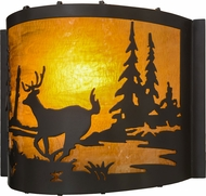 Meyda Tiffany 152607 Deer at Lake Rustic Timeless Bronze / Ha Glass Lighting Wall Sconce