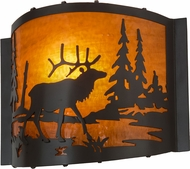 Meyda Tiffany 152608 Elk at Lake Country Timeless Bronze / Ha Glass Wall Lighting Sconce