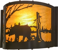 Meyda Tiffany 152609 Bear at Lake Rustic Timeless Bronze / Ha Glass Wall Sconce Lighting
