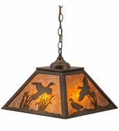 Meyda Tiffany 15280 Ducks in Flight Antique Copper/Amber Mica Pendant Lamp